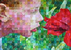 """Matteo and the Amaryllis"" by Sandra Bruce.  SAQA Northern California. Featured in Quilting Arts Magazine April/May 2014."