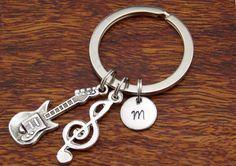 Monogram Keychain, Music Key Ring, boyfriend Gift keychain, custom keychain, personalized keychain, valentine day gift for him, Mens Gift by StampsINK on Etsy