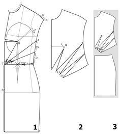 В этой статье мы рассмотрим варианты интеграции базовых вытачек на платье в модельные складки, вытачки и рельефы. Основой для моделирования является чертеж базовой конструкции платья полуприлегающего силуэта. Вариант 1 1. Для определения Длины платья отложить от талии 50 см вниз по середине переда и начертить линию низа. От контрольного знака A провести вертикаль вниз до [...]