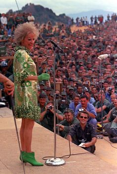 Phyllis Diller performing in 1967 during the Bob Hope show for American troops at Can Ranh Bay, South Vietnam.