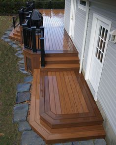 What do you look for in a backyard patio deck design? Is the deck going to be constructed of wood? Composite Decking, Pvc Decking, Decking Ideas, Decking Planks, Patio Deck Designs, Deck Steps, Deck Pictures, Cozy Backyard, Deck Builders