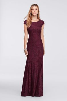 Long Cap-Sleeve Lace Mother of Bride/Groom Dress with Low Back - Burgundy (Red), 12