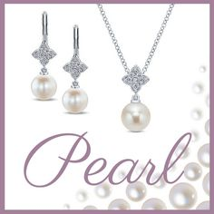 14k White Gold Cultured Pearl Drop Earrings and Necklace with Diamond Clusters - Gabriel & Co. - EG12330W45PL, NK4511W45PL