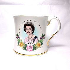 Small Coalport fine bone china cup commemorating the Sixtieth Birthday of Queen Elizabeth II.