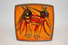 "Thomas Toft Danish Studio Pottery Birds Deep Dish at 12.5"" Square Mid Century | eBay"