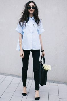 What to Wear to Work, Market Edition: Short Sleeve Button-Front Shirt, D'Orsay Pumps, Arm Bangles
