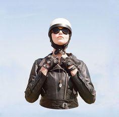 The Women's Motorcycle Exhibition — Tamara Raye Retro Motorcycle Helmets, Motorcycle Style, Motorcycle Boots, Motorcycle Fashion, Biker Boots, Half Helmets, Tomboy Fashion, Tomboy Style, Cowboy Boots Women