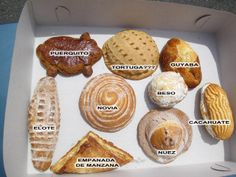 "Most familiar to Americans are the flaky laminated doughs, such as those used for Mexican croissants, cuernos (""horns""), and tacos, cigar-shaped pastries with fruit fillings, such as pineapple or guava. Orejas (""ears"") are like French palmiers, layers of crisp, delicate puff pastry cut crosswise to reveal hundreds of layers wrapped around each other. The milhojas (""1000 leaves"") consists of several inches of puff pastry with a Bavarian cream or fruit center. Tasty."