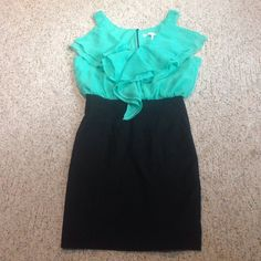 Green and black dress Dress, fits like a pencil skirt at the bottom and has a flowy top. Zipper closure and has a small pull in the fabric that can be seen in the third picture, not very noticeable. Dresses