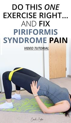 Eliminate lower back pain and piriformis syndrome with this one exercise if done correctly. Learn how to properly activate your glute and core muscles Piriformis Syndrome Symptoms, Piriformis Exercises, Hip Strengthening Exercises, Piriformis Muscle, Sciatica Stretches, Back Pain Exercises, Yoga Exercises, Hip Flexor Exercises, Morning Exercises
