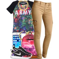 """""""june 7 2k14"""" by xo-beauty on Polyvore This is totally Paris. Especially the Army Shirt(:"""