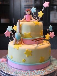 Gymnastics Cake Made for a little gymnast whose favourite colour is yellow :) Gymnastics Birthday Cakes, Gymnastics Party, Cupcake Invitations, Sport Cakes, Princess Tea Party, Fairy Cakes, Fancy Desserts, Occasion Cakes, Fondant Cakes