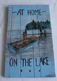 """$60 ~ Hand-painted """"At Home on the Lake"""" ~ Now through February 18th receive 25% off Art $25 and up! Use Coupon Code: 25ARTSALE"""
