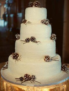 Winter wedding cake with pinecones