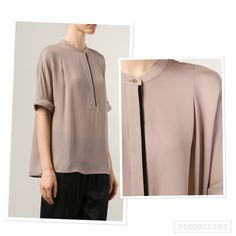 Vince band collar color block blouse top Classy Vince band collar blouse. Beige/black. 100% silk. Size S. Relaxed fit. Short dolman sleeves. Worn once and in a great condition. Vince Tops Blouses