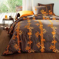 Housse de couette coton r versible fleurs et imprim imitation ikat omerille - Housse de couette orange ...