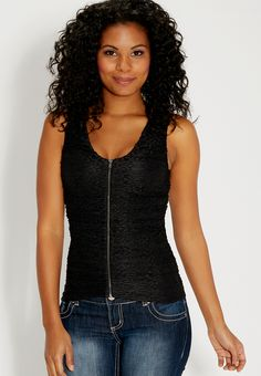 lace tank with zip up front - #maurices