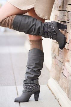 Charcoal Grey Diamonds & Studs Boots - NanaMacsBoutique