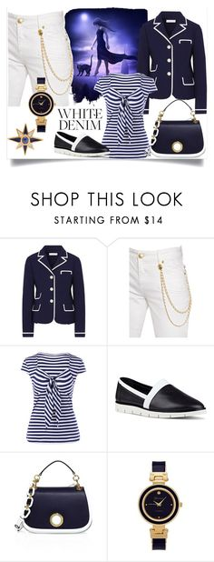 """Bright White: Summer Denim"" by m-illumino-di-glamour ❤ liked on Polyvore featuring Tory Burch, Nine West, Michael Kors, Geneva and Diego Percossi Papi"