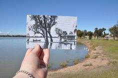 Boat house at Lake Cargelligo, NSW, 1930s and now