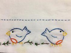 Hand Embroidered Yoyo Blue Birds Pillowcases Unique Gift- a set : Hand Embroidered Yoyo Blue Birds Pillowcase Unique Gift by AnniesUPAttic on Etsy Pillow Case Crafts, Bluebird Vintage, Blue Pillow Cases, Personalized Pillow Cases, Embroidered Pillowcases, Pillowcase Pattern, Vintage Embroidery, Embroidery Stitches, Embroidery Patterns