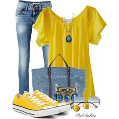 """Denim n' Yellow"" by stylesbyjoey on Polyvore"