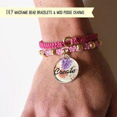 Charm It - Beaded Macrame Mod Podge Charm Bracelet Video Tutorial Beaded Jewelry, Handmade Jewelry, Macrame Bracelets, Charm Bracelets, Jewelry Making Tutorials, Bracelet Tutorial, Beads And Wire, Bracelet Patterns, Making Ideas