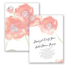 Watercolor Poppies - Bellini - Wedding Invitation - Modern Floral at Invitations By David's Bridal