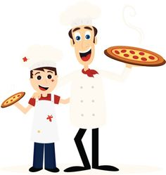 Chef and Little Boy with Pizzas