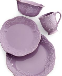 Home Lenox French Perle Violet 4 Piece Place Setting - Dinnerware - Dining & Entertaining - Macy's C Casual Dinnerware, Dinnerware Sets, Purple Dinnerware, Lenox French Perle, Vase Deco, Cooler Stil, Purple Kitchen, Tea Stains, All Things Purple