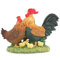 A real barnyard family scene is depicted in the colorful Rooster Rascals Figurine by Lenox . Meticulously crafted in resin and masterfully hand-painted, the figurine has papa rooster and mama hen surrounded by their many chicks. Delightful details add to the surroundings and give this figurine a true sense of farm life. •	Crafted of hand-painted artist's resin •	Height: 6 1/4""