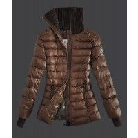 Moncler Stand Collar Zip Jackets Womens Down Coffee