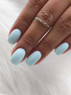 Acrylic Nails Coffin Short, Blue Acrylic Nails, Simple Acrylic Nails, Summer Acrylic Nails, Simple Nails, Simple Elegant Nails, Acrylic Nails Designs Short, Summer Nails, Matte Nail Designs