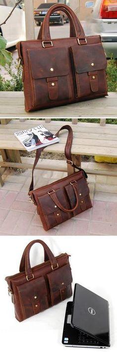 """Handmade Vintage Crazy Horse Leather Briefcase / Messenger / 13"""" 14"""" Laptop 13"""" 15"""" MacBook Bag"""