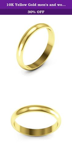 10K Yellow Gold men's and women's plain wedding bands 3mm half round, 7.75. 3mm Half round 10K Yellow gold men's and women's plain or traditional wedding bands polished to a high shine.