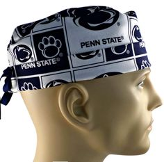 Men's Adjustable Cuffed or Un-Cuffed Surgical Scrub Hat Cap in Penn State Nittany Lions