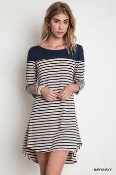 Navy stripe tee dress