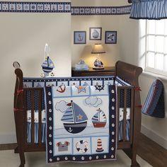Blue Stripes Sail Boat Nautical Decor 4 Piece Baby Boys Nursery Crib Bedding Set in Baby, Nursery Bedding, Crib Bedding Nursery Water, Nautical Nursery, Nursery Bedding, Nautical Baby, Nautical Bedding, Nautical Theme, Sailor Nursery, Bedding Decor, Nautical Design