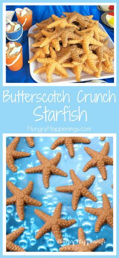 Crunch Starfish - Beach Themed Party Treats Sweet little Butterscotch Crunch Starfish make wonderful treats for your beach party or pool party.Sweet little Butterscotch Crunch Starfish make wonderful treats for your beach party or pool party. Appetizers For Kids, Appetizers For Party, Beach Treats, Beach Snacks, Beach Party Desserts, Beach Party Foods, Beach Themed Snacks, Beach Party Decor, Ocean Snacks
