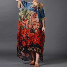 Vintage Floral Print Loose Long Silk Dress