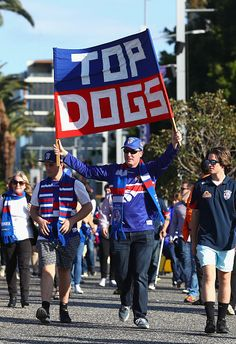 Bulldogs fans arrive before the AFL First Preliminary Final match between the Greater Western Sydney Giants and the Western Bulldogs at Spotless...