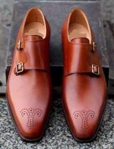 Elegant Design Handmade Men Tan color Brogue formal Shoes, Men Dress monk shoes sold by Leather Art Shop more products from Leather Art 2020 on Storenvy, the home of independent small businesses all over the world. Tan Brogues, Oxfords, Gentleman, Leather Fashion, Mens Fashion, Men Dress, Dress Shoes, Double Monk Strap, Crockett And Jones