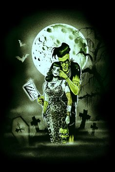 Frankenstein, Bride of Frankenstein, Zombies, Monsters & Undead Pin Ups, Zombie Kunst, Arte Zombie, Zombie Art, Horror Icons, Horror Art, Psychobilly, Dark Fantasy, Fantasy Art, Rockabilly Art