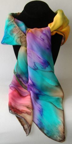 Hand Painted Silk Scarf Pink Blue Orange Yellow Brown Large Square