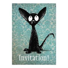 Black Cat on Blue Damask Announcement or Invitation by Paul Stickland for StrangeStore #strangestore #cats