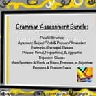 Grammar Skills Assessment Bundle: 7 Skills Tests including: Parallel Structure Test; Subject/Verb & Pronoun/Antecedent Agreement Test; Participles/Phrases Test; Phrases Test: Verbals, Appositives, and Prepositional Phrases; Noun Functions and Words and Nouns, Pronouns, and Adjectives Test; Personal Pronouns and Pronoun Cases Test; Dependent Clauses Test $priced