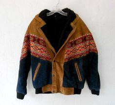 Vintage Bomber Jacket, Mens Southwestern Navajo Print Embroidered Leather Jacket, Eighties Western Bomber Jacket, Mens Vintage Coat