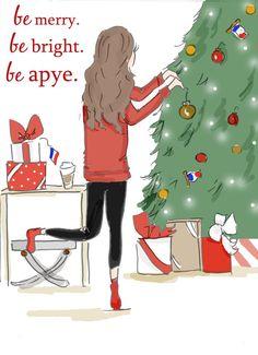 Aype socks for christmas illustration by Heather Stillufsen Rose Hill Designs on Facebook and Etsy