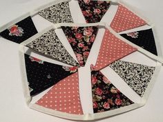 12 flag Pink and Black Bunting / Fabric Garland / Banner - mini flags, Playroom deco, office and birthday parties, photo prop on Etsy, £6.37