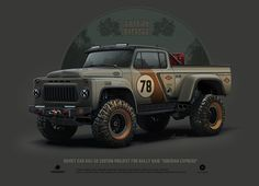 "GAZ-52 custom project for rally raid ""Siberian Express"", Andrey Tkachenko on ArtStation at https://www.artstation.com/artwork/wyoow"